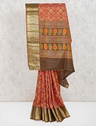 Orange patola printed cotton silk saree