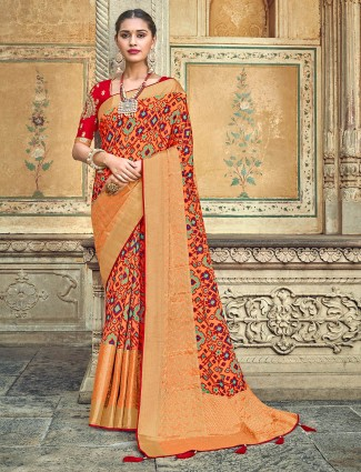 Orange patola silk printed saree for wedding