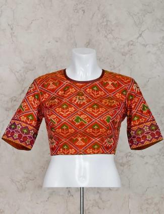 Orange patola silk ready made blouse