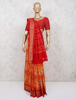 Orange patola silk saree for wedding and reception session