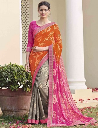 Orange pink grey georgette half and half saree