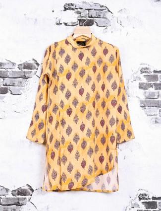 Orange printed pathani suit