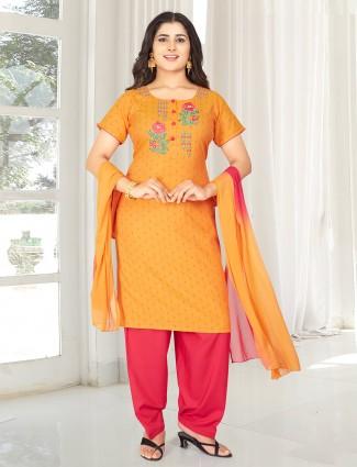 Orange printed punjabi salwar suit for festive wear