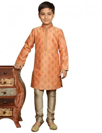 Orange printed silk boys kurta suit