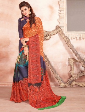 Orange purple georgette saree