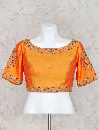 Orange raw silk boat neck ready made blouse