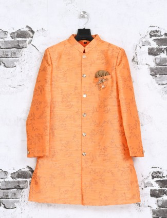 Orange raw silk indo western