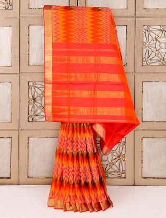 Orange reception wear saree