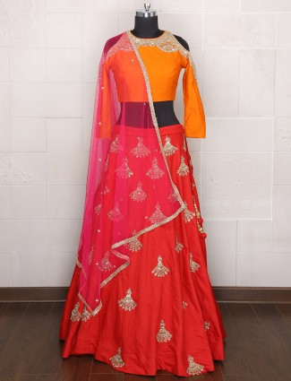 Orange Red Designer wedding wear lehenga choli