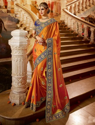 Orange satin designer saree