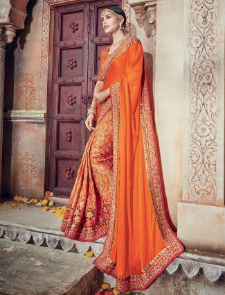 Orange satin silk half and half saree