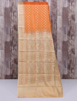 Orange semi silk stunning saree