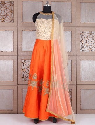 Orange silk alluring long anarkali suit