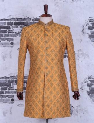 Orange silk alluring wedding wear indo western