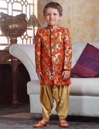 Orange silk designer indo western