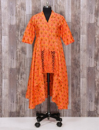 Orange silk designer suit