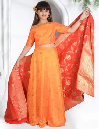 Orange silk fabric classy lehenga choli