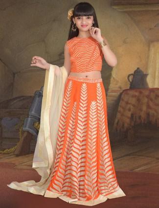 Orange silk fabric party wear lehenga choli