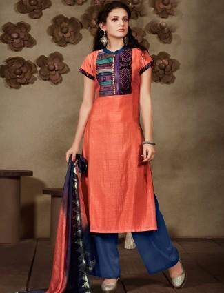 Orange silk festive salwar suit