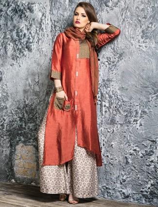 Orange silk festive wear palazzo suit