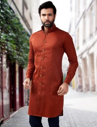 Orange silk festive wear short pathani kurta