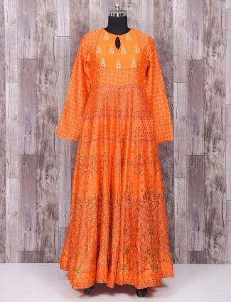 Orange silk one piece suit for parties