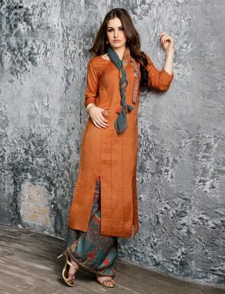 Orange silk palazzo suit in silk fabric
