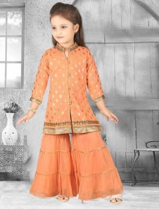Orange silk party wear sharara suit