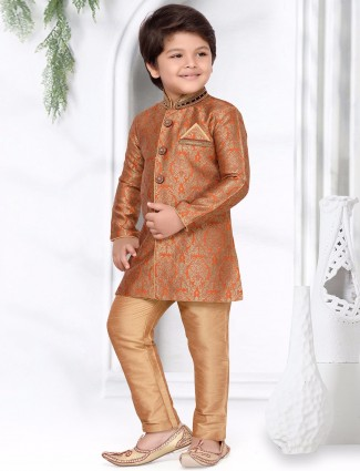 Orange silk wedding kurta suit