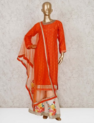 Orange silk wedding wear punjabi palazzo suit
