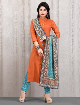 Orange solid cotton punjabi straight cut pant suit