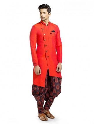 Orange solid wedding wear kurta suit