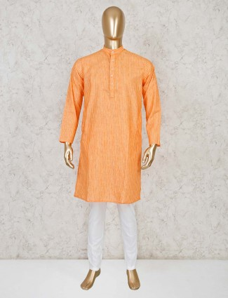 Orange stripe cotton kurta suit