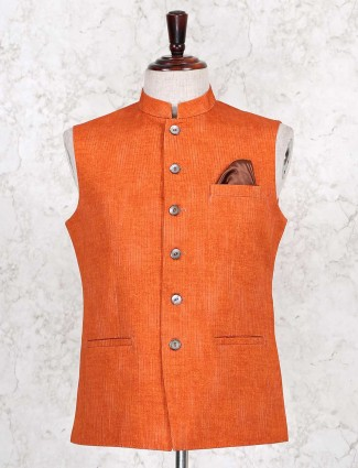 Orange stripe style mens cotton waistcoat