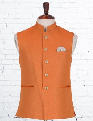 Orange terry rayon waistcoat