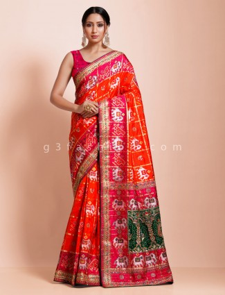 Orange wedding days hydrabadi patola silk saree