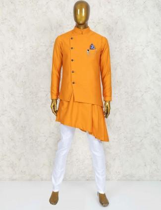 Orange wedding function waistcoat set