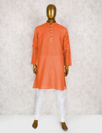 Orange wedding wear cotton kurta suit