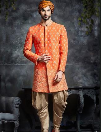 Orange wedding wear desiginer indo western
