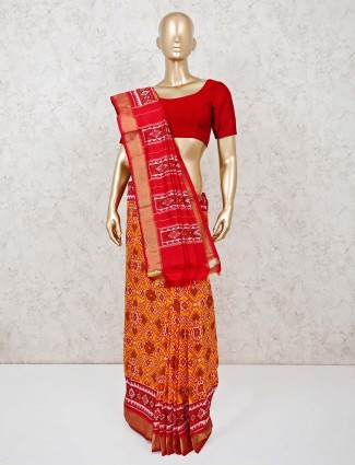 Orange with red color hydrabadi patola silk saree