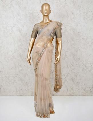 Organza tissue silk saree in beige