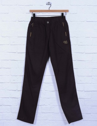 Origin brown colored cotton fabric track pant
