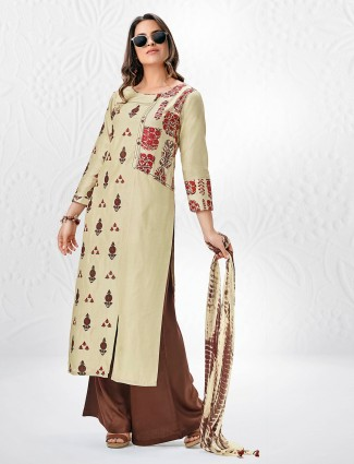 Palazzo suit in beige color for festive function