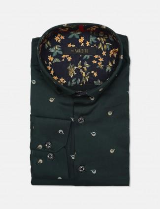 Paribito green formal shirt for mens