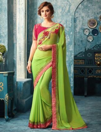 Parrot green chiffon saree