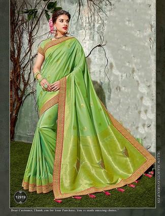 Parrot green classic semi silk saree