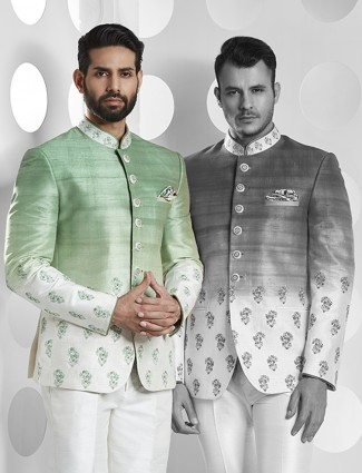 Parrot green color jodhpuri suit