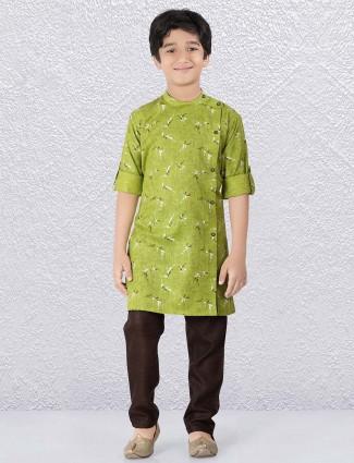 Parrot green color printed slim fit kurta suit