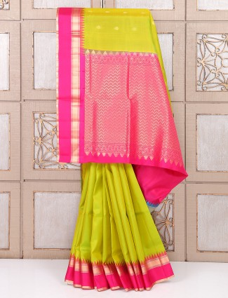 Parrot green color silk fabric saree