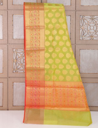 Parrot green cotton fabric wedding saree